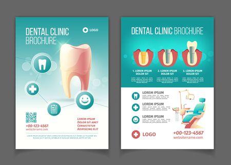 Brochure pubblicitaria clinica odontoiatrica, modello di pagine di vettore del fumetto poster. Comoda sedia per stomatologia con lampada, dente sano, moderni impianti dentali e illustrazione di infografica con tecnologia di corone Vettoriali