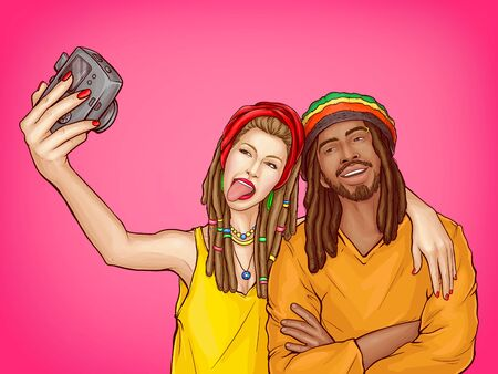 Vector pop art characters make selfie - couple of smiling rasta guy with dreadlocks and woman in the yellow shirt. Man in orange cloth with sexy girl take a picture, people isolated on pink background