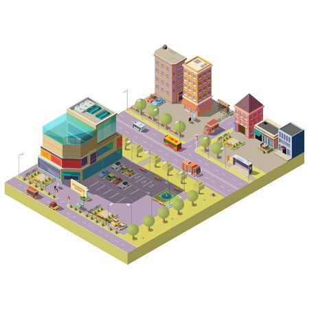 Vector 3d isometric city center - a shopping mall, supermarket with parking area and living multistorey modern buildings. Road with traffic, cars, bus stop. Architecture, cityscape concept.