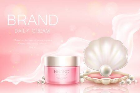 Vector 3d realistic advertising mock up - daily cream in pink jar, cosmetics background with light aerial fabric. Moisturizing essence with pearl in shell for poster, banner. Skincare, hygiene product