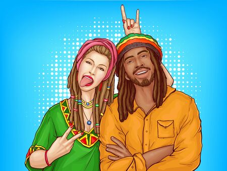 Vector pop art characters - a couple of smiling rasta guy with dreadlocks and woman in the green shirt. Man in orange jacket with sexy girl isolated on blue dotted background. Cute young people. Illusztráció