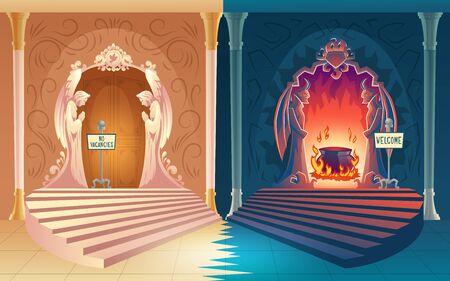 Castigo por el concepto de vector de dibujos animados de vida pecaminosa. Puertas del cielo cerradas sin letrero de vacantes, letrero de bienvenida en la entrada abierta del infierno que conduce a la olla hirviendo en la ilustración de fuego Pago de la vida después de la muerte Ilustración de vector