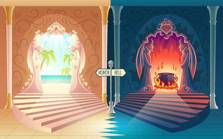 Concept de vecteur de dessin animé de paiement de la vie après la mort avec escalier vers le ciel et les portes de l'enfer avec des anges en prière et des démons à cornes menant au paradis et à la marmite en feu, balise pointant dans deux directions