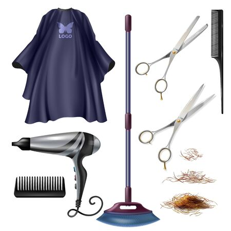 Barbershop hairdresser tools and accessories 3d realistic vector set isolated on white background. Scissors and combs, electrical hair dryer, gown or cape, telescopic broom, trimmed hair illustrations Illustration