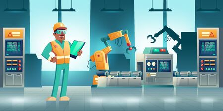 Robotized industrial production cartoon vector concept. Robotic hands working on modern factory or plant conveyor, manufacture qualified worker, engineer or service technician with tablet illustration 向量圖像