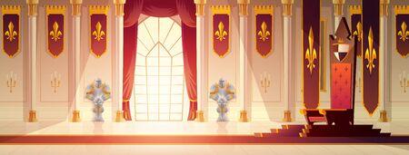 Mittelalterliches Schloss geräumiger Thronsaal oder Ballsaal-Innenkarikaturvektor. Roter Teppichweg zum Königsthron auf Sockel, Vorhänge am Fenster, Flaggen mit königlichem Emblem an den Wänden, Ritterrüstungen Abbildung Vektorgrafik