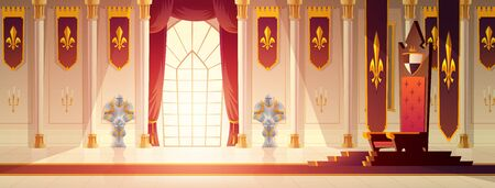 Medieval castle spacious throne hall or ballroom interior cartoon vector. Red carpet path to kings throne on pedestal, curtains on window, flags with royal emblem on walls, knights armors illustration