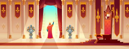 Medieval ruler coronation ceremony, celebrating victory in war cartoon vector concept. Throne on pedestal, knight guards and emperor or king greeting crowd from palace or castle balcony illustration
