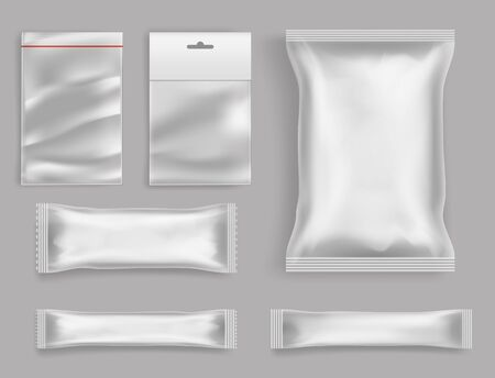 Goods polyethylene packaging types 3d realistic vector set isolated on grey background. Various size and form polythene, sealed, disposable packets with fastener, hang hole and tag for food products