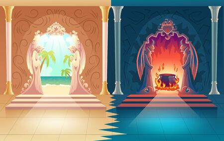 Moral choice, afterlife reward or payoff cartoon vector concept. Heaven and hell gates with figures of praying angels and horned demons, leading on tropical shore or boiling pot in fire illustration Vektoros illusztráció