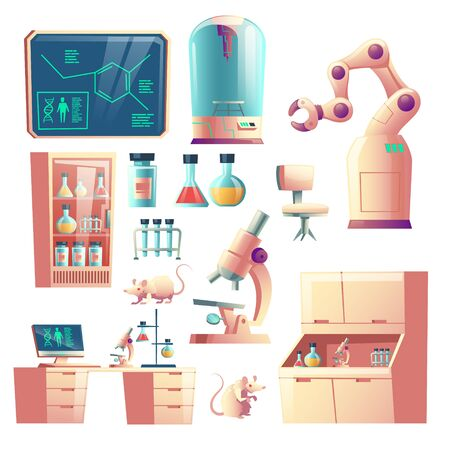 Science genetic laboratory equipment, glassware and tools cartoon vector set isolated on white background. Laboratory rats, robotic hand, microscope, desk with computer and glass flasks illustration Vector Illustration