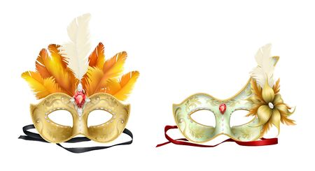 Half-face colombina mask decorated with precious stones, red ruby and colored feathers 3d realistic vector icon isolated on white background.  costumed party dressing illustration Stok Fotoğraf - 127372354