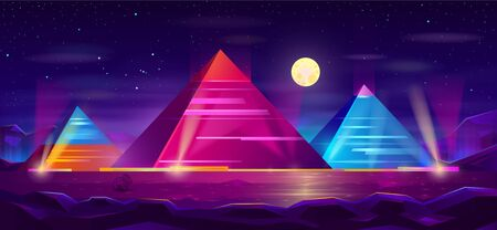 Giza plateau nigh landscape with egyptian pharaohs pyramids complex illuminated with moonlight neon colors cartoon vector background. Ancient historical, famous touristic attractions in african desert Illustration
