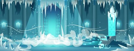 Frozen throne room or ballroom in snow queen, necromancer castle cartoon vector with fog spreading in room covered with ice and snow, human skull lying near evil witch or sorcerer throne illustration