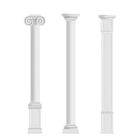 Antique cylindrical doric, Ionic orders and modern cubic columns of marble stone 3d realistic vector isolated on white background. Ancient architecture, historical or modern building exterior elements