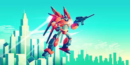 Alien warrior, armed transformer robot flying in sky under modern metropolis skyscrapers, patrolling, attacking enemies with plasma gun illustration. Future army technologies. Game art background Ilustracja