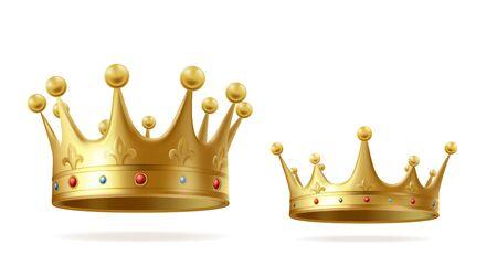 Couronnes d'or avec des pierres précieuses pour le roi ou la reine ensemble isolé sur fond blanc. Coiffe de couronnement pour monarque. Symbole de couronnement médiéval de la monarchie royale d'or, signe impérial. Illustration vectorielle réaliste