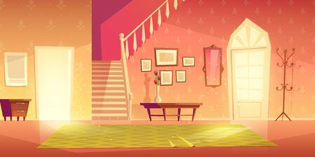 House hallway entrance interior with stairs and furniture. Bright apartment background with door, mirror, hanger, carpet, flower in vase on table lightened with sun rays. Cartoon vector illustration. Illustration