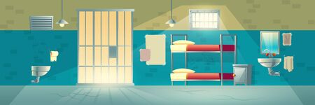 Prison cell for criminals. Interior with cracked floor, scratched, brick wall, grid door, bunk beds, washbasin, toilet. Jail double room facility for dangerous prisoners. Cartoon vector illustration.  イラスト・ベクター素材