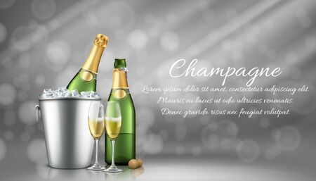 Champagne bottle in ice bucket and two full glasses on grey blurred background with sun rays. Closed and open bubbly flask with sparkling vine drink and cork. Realistic 3d vector illustration, banner.