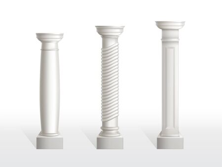 Antique columns set isolated on white background. Ancient classic pillars of roman or greece architecture with ornament for interior or facade. Joinery elements. Realistic 3d vector illustration.