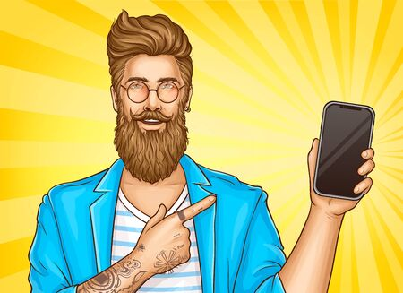 Bearded hipster man with tattoos wearing fashioned clothing and round glasses point with index finger on smartphone in other hand. Vector Illustration on yellow background in pop art retro comic style