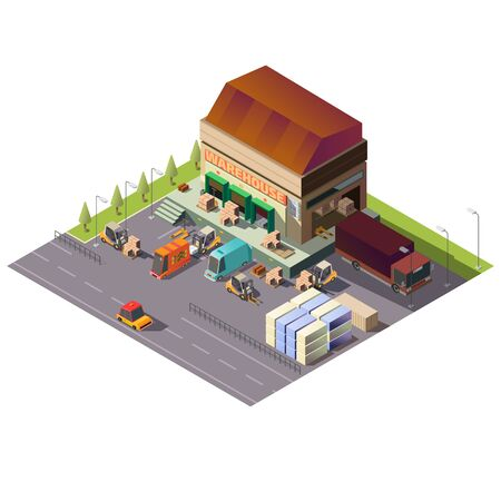 Delivery service, shipping company, logistics center warehouse building isometric vector isolated on white background. Forklifts loading, unloading goods, parcels in cargo truck and vans illustration