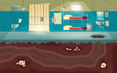 Prisoners or dangerous criminals group escape from jail to freedom cartoon vector concept with empty prison cell interior, hole punched in cement floor and underground tunnel dug in soil illustration