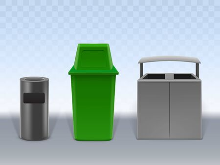 Garbage containers set isolated on transparent background. Empty trash cans of various design made of plastic and metal. Street and in-house litter bins. Realistic 3D Vector Illustration, clip art.