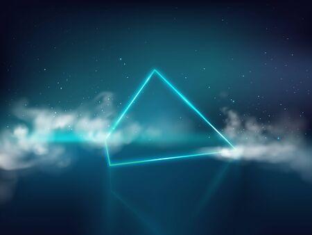 Blue laser pyramid or prism on reflective surface and starry background with smoke or fog 3d realistic vector. Futuristic light effect, design element illustration. Concert stage, nightclub lightning Ilustração