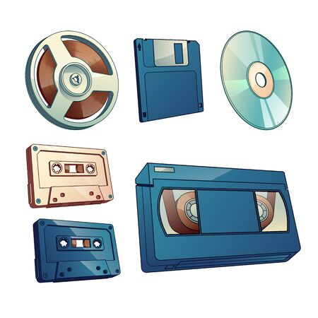 Audio and movie records, information vintage carriers cartoon vector set isolated on white background. Magnetic tape on reel, audio and VHS cassettes, pc floppy diskette and laser disk illustration 向量圖像