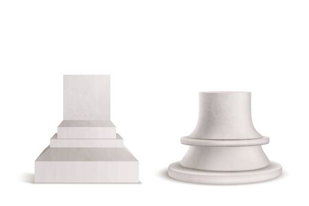 Pedestal, plinth, marble podium set isolated on white background. Mockup graphic element for product or exhibit presentation. Stone bust stand for historical museum. Realistic 3D Vector Illustration.