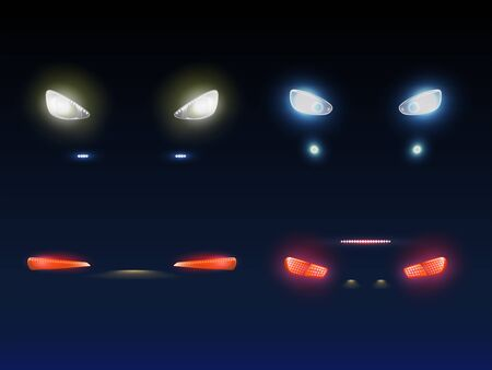 Modern car front, back headlights glowing red, white and blue in darkness 3d realistic vector set. Passenger or cargo vehicle exterior element, auto light equipment isolated illustration collection