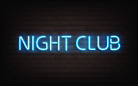 Night club neon lettering on dark brick wall background. Blue shining highly detailed realistic glowing sign, signboard, light banner for nightlife event entertainment, inscription Vector Illustration