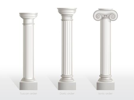 Antique columns set of Tuscan, Doric and Ionic Order isolated on white background. Ancient classic ornate pillars of roman or greece architecture for facade decoration Realistic 3d vector illustration 일러스트