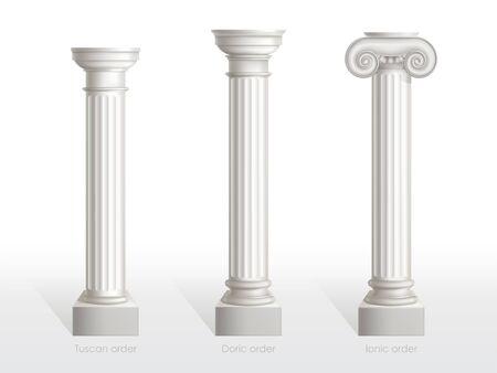 Ensemble de colonnes antiques de l'ordre toscan, dorique et ionique isolé sur fond blanc. Anciens piliers ornés classiques de l'architecture romaine ou grecque pour la décoration de façade Illustration vectorielle 3d réaliste