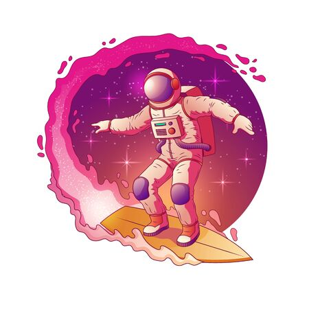 Astronaut in spacesuit standing on surfboard and surfing in Milky Way stars, having fun in outer space cartoon vector icon isolated on white background. Space traveling and tourism company logo