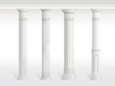 Antique columns set, balustrade isolated on white background. Ancient figured pillars connected at top with railing or horizontal beam. Roman or greece architecture. Realistic 3d vector illustration.