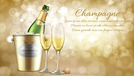 Anniversary celebration, romantic dinner in restaurant realistic vector invitation, greeting card. Elite champagne ad banner. Opened bottle in ice, two wineglasses filled sparkling wine illustration