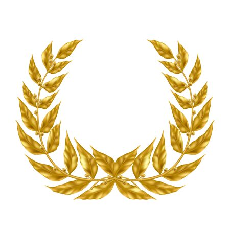 Golden laurel wreath 3d realistic vector isolated on white background. Ancient symbol of triumph and glory, military victory, sport competition reward illustration. Precious prize, award for success