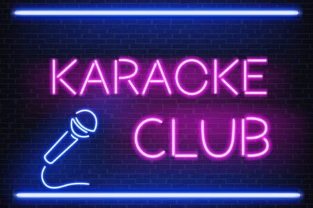 Karaoke club glowing bright neon light signboard 3d realistic vector with pink letters and blue microphone illustration on brick background. Illumination for nightclub with live musical performances