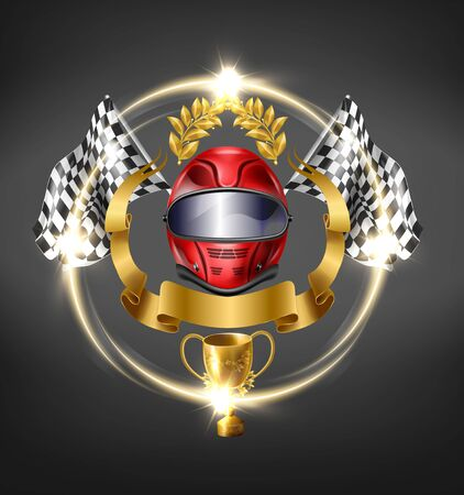 Auto, motorsport racing victory 3d realistic vector icon. Sport car, bike driver helmet surrounded checkered finish flags, golden laurel wreath in above and ribbon, winner cup from below illustration