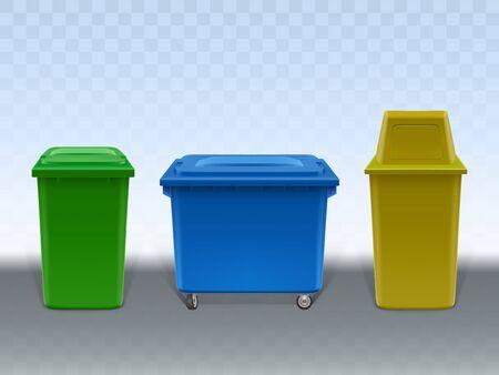 Ensemble de conteneurs à ordures isolé sur fond transparent. Poubelles vides de diverses conceptions en plastique et en métal. Poubelles de rue et de la maison. Illustration vectorielle 3d réaliste, clipart.