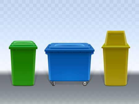 Garbage containers set isolated on transparent background. Empty trash cans of various design made of plastic and metal. Street and in-house litter bins. Realistic 3d vector Illustration, clip art. Ilustração
