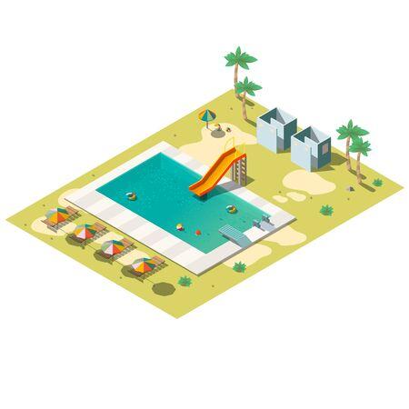 Vettore isometrico della piscina dell'hotel resort tropicale con scivolo, sedie a sdraio sotto l'ombrellone, cabina spogliatoio, illustrazione del parco giochi per bambini. Intrattenimento estivo, elemento dell'infrastruttura ricreativa
