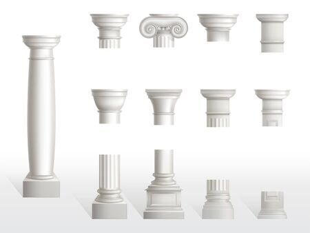Parts of ancient column, base, shaft and capital set. Ancient classic ornate pillars of roman or greece architecture, white marble stone. Tuscan, Doric, Ionic order. Realistic 3d vector illustration Иллюстрация