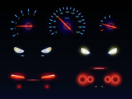 Glowing in darkness blue, red and white light, car front, back headlights, speedometer and tachometer scales, battery, fuel or oil level indicators 3d realistic vector set isolated on black background