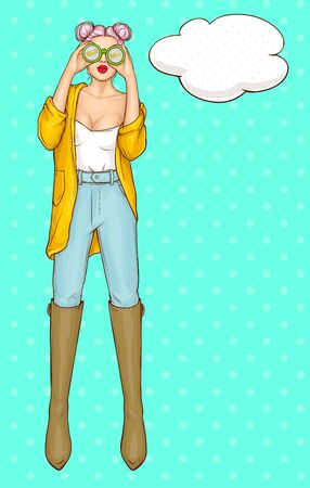 Full-length portrait of young, attractive woman wearing yellow jacket and high boots on jeans pants, using binoculars, searching, looking for shop seasonal sales, store holiday discounts illustration