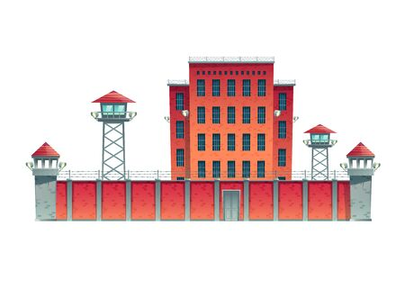 Prison, jail building fenced with guard observation posts on high fence with strained barbed wire and searchlights projectors on watchtowers cartoon vector illustration isolated on white background  イラスト・ベクター素材