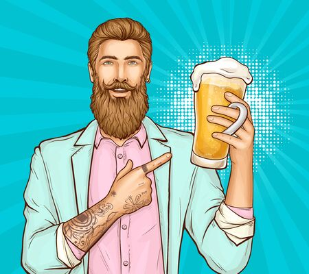 Happy smiling bearded, tattooed hipster man in pink shirt and turquoise suit pointing on glass full of fresh foamed beer or ale pop art vector illustration. Beer festival, pub party poster template Stock Illustratie
